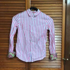 Women's Robert Graham pink white striped top XS